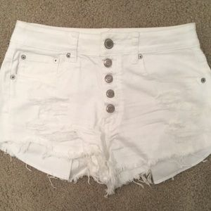 American Eagle White Festival High Rise Shorts